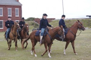 Civil War reenactors Horse drill on the parade ground at Fort Clinch State Park.