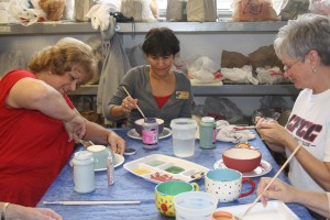 Empty bowls project - CFCC faculty painting empty bowls