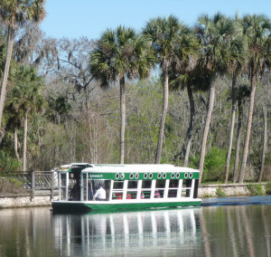 water tours - pontoon boat at Silver Springs State Park, Ocala
