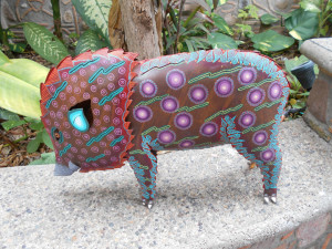 Puerto Vallarta - pig sculpture in an art gallery