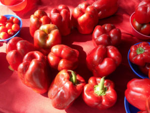 Naples Farmers Market, red peppers